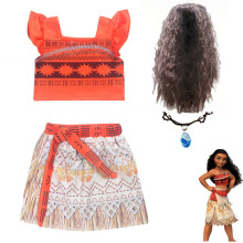 2018 Summer Moana Dress girls Moana Vaiana Princess Dresses Kids Party Cosplay Costumes Wig Children Clothing clothes
