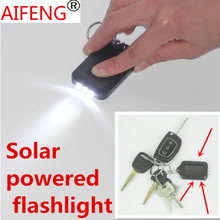 AIFENG Mini Solar light 3 led flashlight Keychain Solar Power rechargeable night Light Lamp for Hiking travel camping lighting