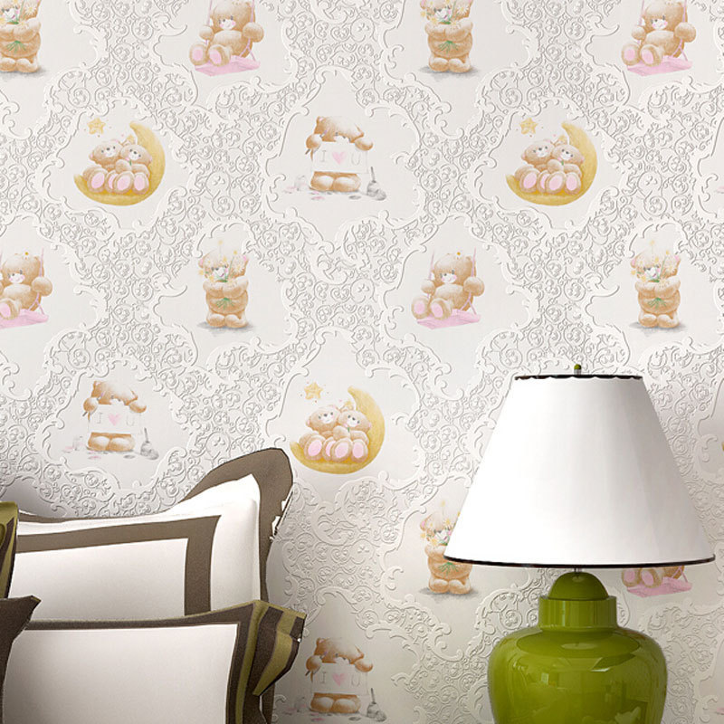 beibehang Cute Cartoon Bear Design Wallpaper roll Kids Room 3D Wallpapers Wall Papers Bedroom Decal Mural papel de parede 3d<br>