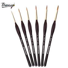 Bianyo 6pcs Red Rable Hook Line Brush Pen, Watercolor Paint Brush For Drawing Art Gouache Oil Painting Brush Art Supplier