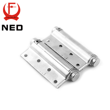 2PCS NED-5107 3 Inch Double Action Spring Door Hinge Stainless Steel Rebound Hinge For Cafe Swing Western Furniture Hardware