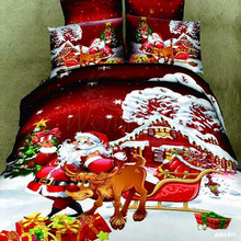 Christmas Man 3d Bedding Set Full Queen Size Bed New 100% Cotton Linen Quilt/Duvet Cover Pillow Cases 4P Home Textile - wongs bedding cotton Customized Store store