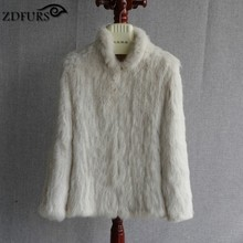 ZDFURS New Genuine Rabbit Fur Coat Fashion Women knit Rabbit Fur Jacket Winter Warm Rabbit Fur Outwear ZDKR-165027