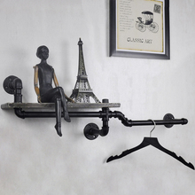1PC Industrial Pipe Wall Shelf Decorative Wall Hanging Metal & Wood Shelf Bookcase Perfect for Bathroom/Kitchen/ Living Room Z6(China)