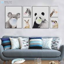 Nordic Kawaii Animal Bubbles Koala Giraffe Dog Canvas A4 Art Print Poster Nursery Wall Picture Kids Room Decor Painting No Frame(China)