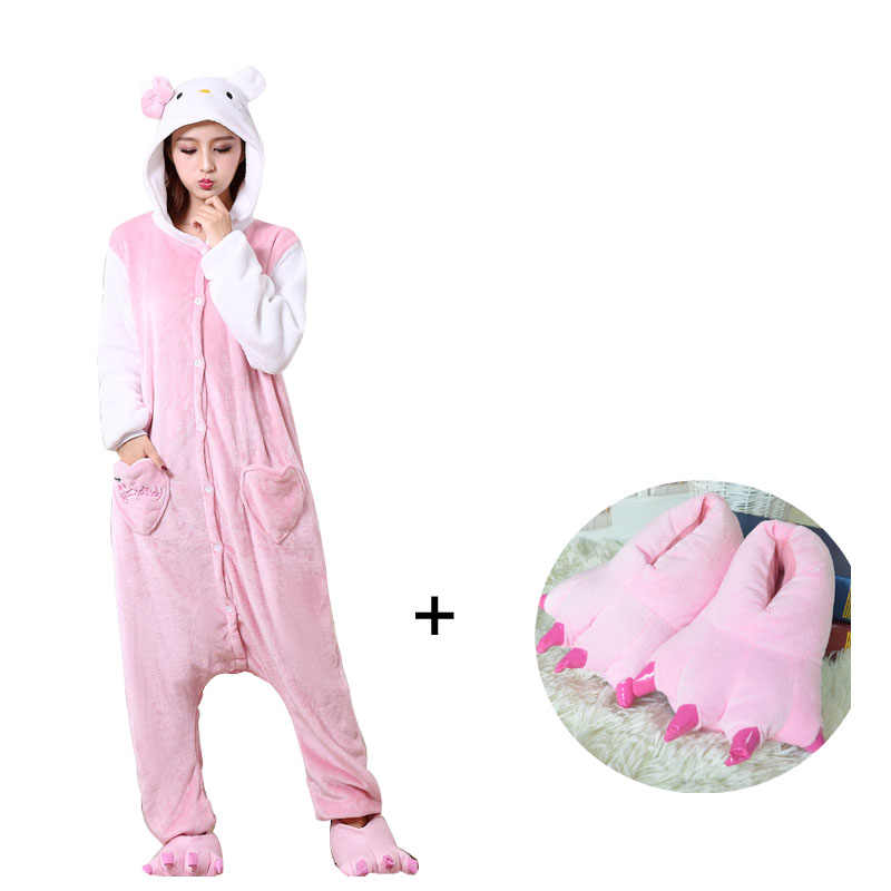 Розовый Кот Комбинезоны для взрослых мягкие кигуруми пижамы фланелевые  цельные пижамы с тапочками Хэллоуин Косплей Костюм 192f812790d3a