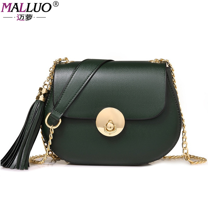 MALLUO Women Messenger Bags Vintage Ladies Crossbody Bags High Quality Leather Saddle Handbags 2017 New Style Totes Famous Brand<br>