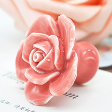 Rose Flower Handles Cabinet Ceramic Knobs Flowers Kitchen Handles Dresser Closet Kids Bedroom Furniture 5 Colors(China)