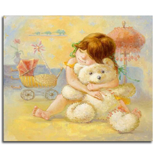 Diamond painting Little girls embroidery with crystals On the beach picture with rhinestones and diamonds Teddy bear decorations