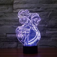 Snow Queen Princess Elsa Anna Action Figure Night Light Color Changed 3D Bulb Lamp USB Table Touch Lamp For Kids Gift