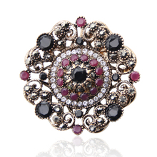 Vintage Round Resin Flower Turkish Brooch Pin For Women Antique Gold Color Arabesque Rhinestone Brooch Broches Lapel Scarf Pin