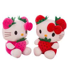 1PC 35CM Lovely Strawberry Hello Kitty Plush Toys Stuffed Soft Cartoon Figure Plush Doll Birthday Gift for Kids Girls