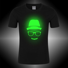 Children's T-shirt Boys Girls Noctilucence Luminous Brand T-shirts Kids Hip Hop Neon Print Party Club Night Light Punk Tops Tees