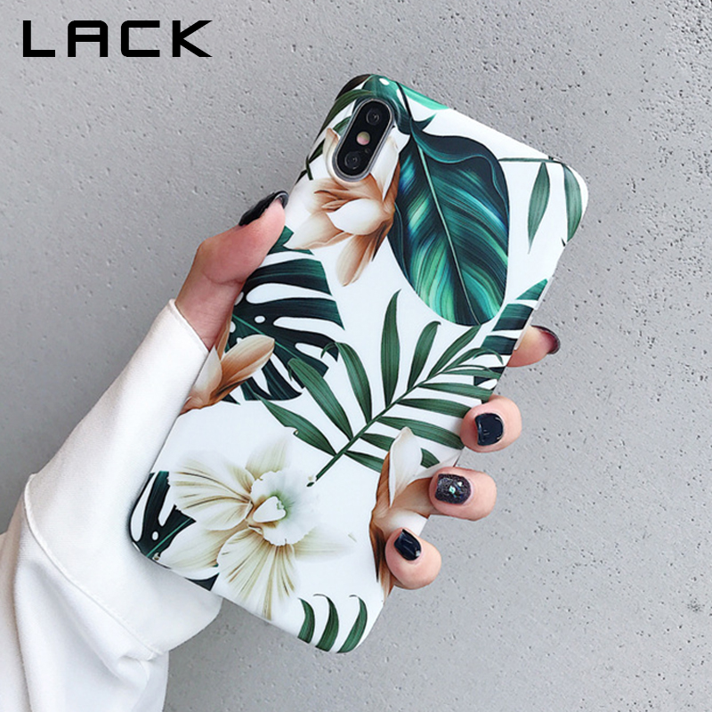 LACK Art Flowers Leaf Phone Case For iphone XS Max Case For iphone X XR 6 S 7 8 Plus Back Cover Fashion IMD Cases Retro Capa(China)