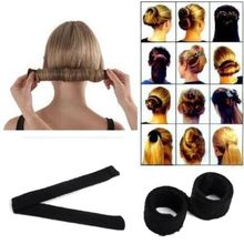 1pc Black Women Hairagami Hair Bun Updo Fold Wrap & Snap Magic Styling Tool