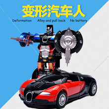 High Simulation 1:36 Bugatti Veyron Deformable Robot Racing Alloy toy cars Pull Back Model Vehicles car toys for children(China)