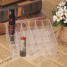 24 Grid Cosmetic Storage Box Organizer Clear Acrylic Box Lipstick Makeup Nail Jewelry Case Holder Display Stand Storage Boxes