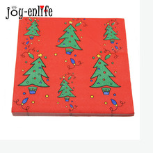 JOY-ENLIFE 20pcs/bag Red Christmas Tree Napkins Tissue Paper 100% Original Wood pulp Christmas Party Decor Home Dinner Supplie