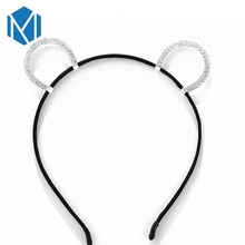 M MISM Rhinestone Cat Ears Black Hairband Hair Accessories Fashion Woman Mouse Ear Headwear Princess Headband Gift for Girls