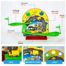 YUSHIXING Mini Electric Magnetic School Bus Track Toy Puzzle Music & Light Children Assembly Car Racing Track Toys A333-192(China)