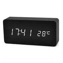 Baldr Thermometer LED Modern Desktop Time Date Display Table Sound Control Alarm Snooze Digital Wooden Clock Temperature Watch