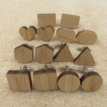 New Geometry  Wood Men's Cufflinks blanks Cuff Links Wooden Jewelry Accessory