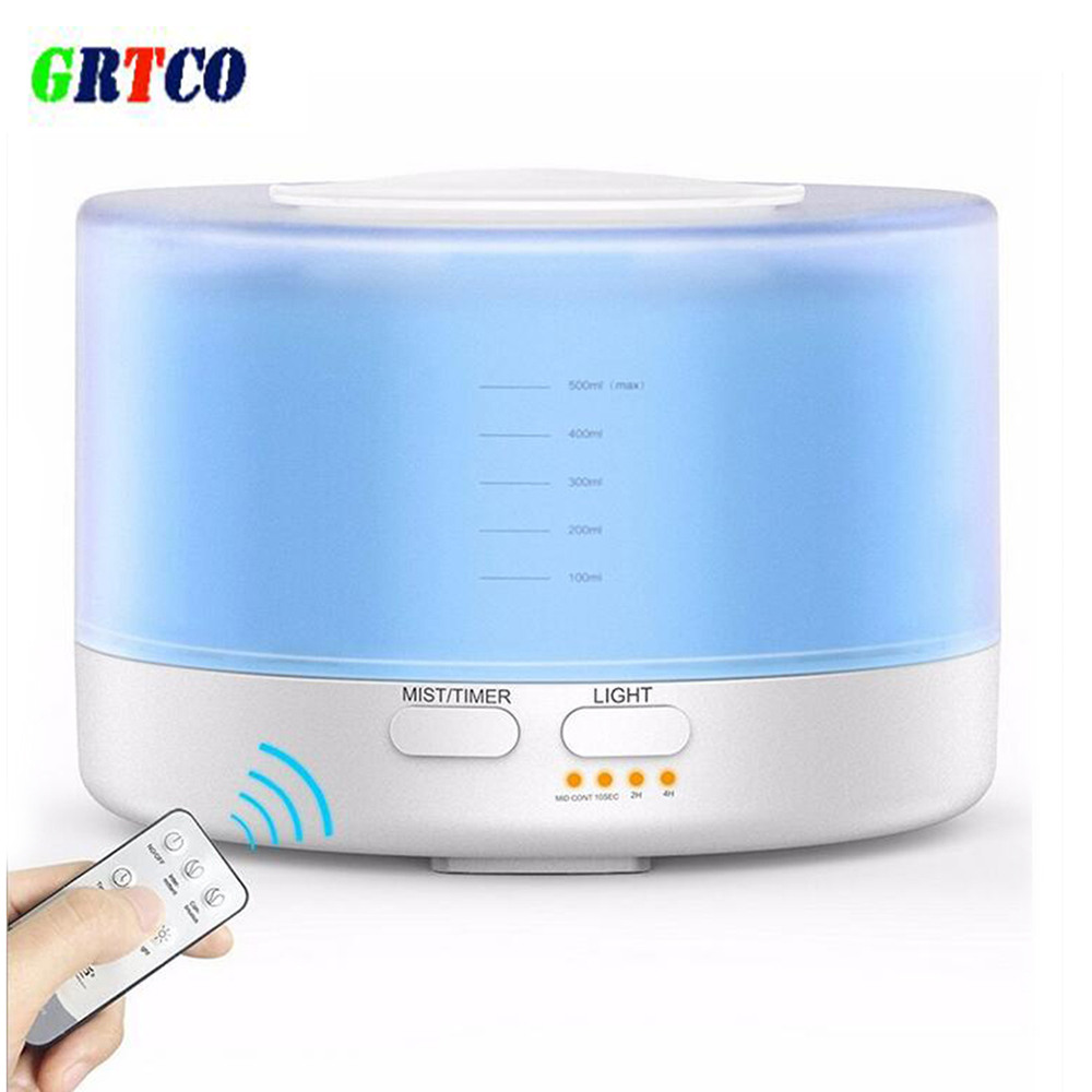 GRTCO Remote Control Essential Oil Diffuser 500ml Ultrasonic Aroma Cool Mist Humidifier with 7 Color Light Changing<br>