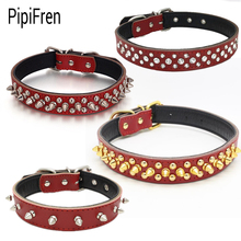 PipiFren Red Large Dogs Collars Spiked Rhinestone For Puppy Accessories Dog Collar Cat Pet Necklace pettorina cane hundehalsband