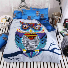 4/3pcs cotton bedding kids owl's boys/girls owl bedding set 3d bed linen duvet cover bed sheet pillowcases full/twin/queen bed(China)