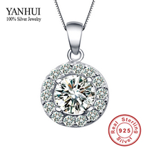 Promotion!!! New Listing 100% Silver CZ Diamant Pendant Necklace Zircon Necklace for Women 925 Silver Pendant Necklace BKN003(China)