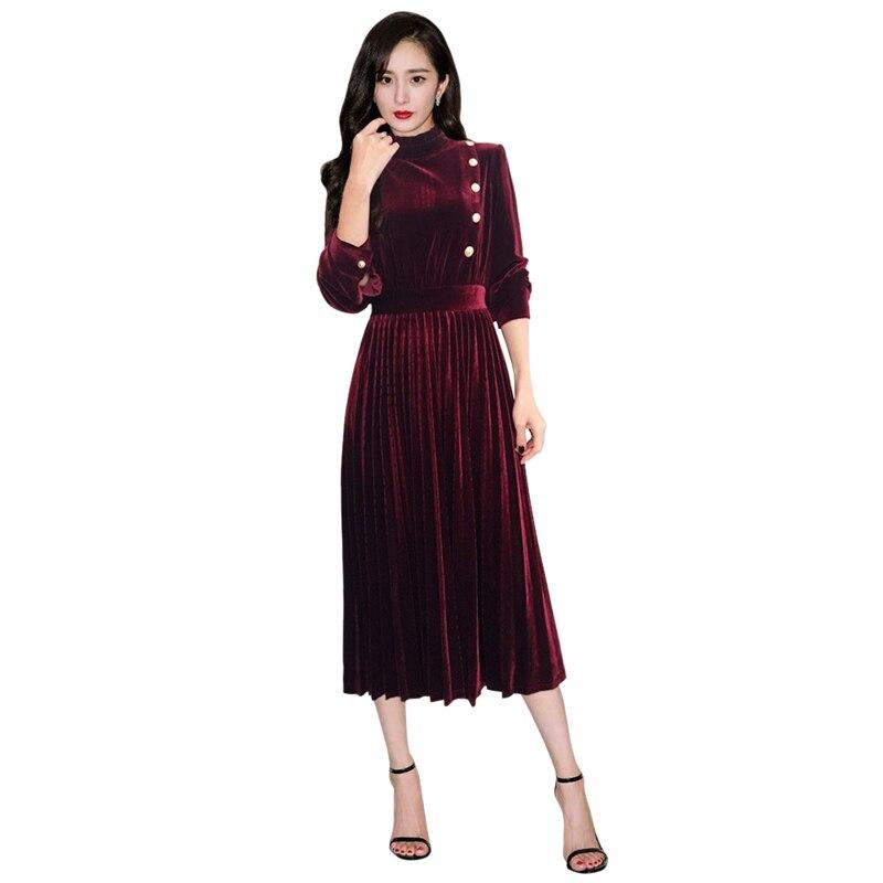 new trends 2019 women gold buttons burgundy  green velvet dress ruffled collar long sleeve women pleated dress drop shipping