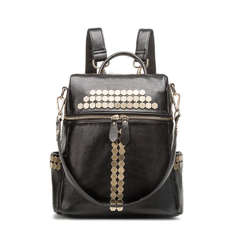 2017 Fashion style Women Backpack Female School Bags High Quality Genuine leather Backpacks for Teenagers Girls Mochila<br>