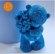 making baby mould Teddy bear with Flowers 3d and candles Diy Craft Molds silicone mold for soap(China)