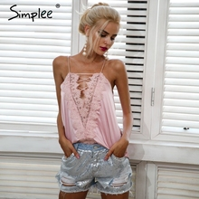 Simplee Sexy satin adjustable strap lining camisole tank top female Casual summer lace up cami women Reversible cami lace top