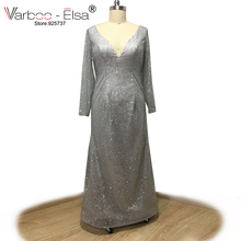 VARBOO_ELSA sexy double V-neck long sleeve evening dress silver sequined straight prom dress custom robe de soiree bling bling(China)