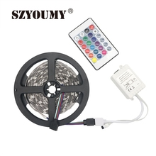 SZYOUMY 5M 500CM 30 leds/M Non-Waterproof 150LEDS Flexible RGB 5050 Led Strip Light +24 Keys IR Remote(only for RGB)