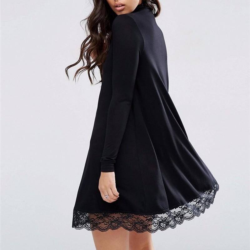 2017-Autumn-New-Arrival-Women-Sexy-Black-Crochet-Turtleneck-Lace-Long-Sleeve-Loose-Shift-Dress-Female (1)