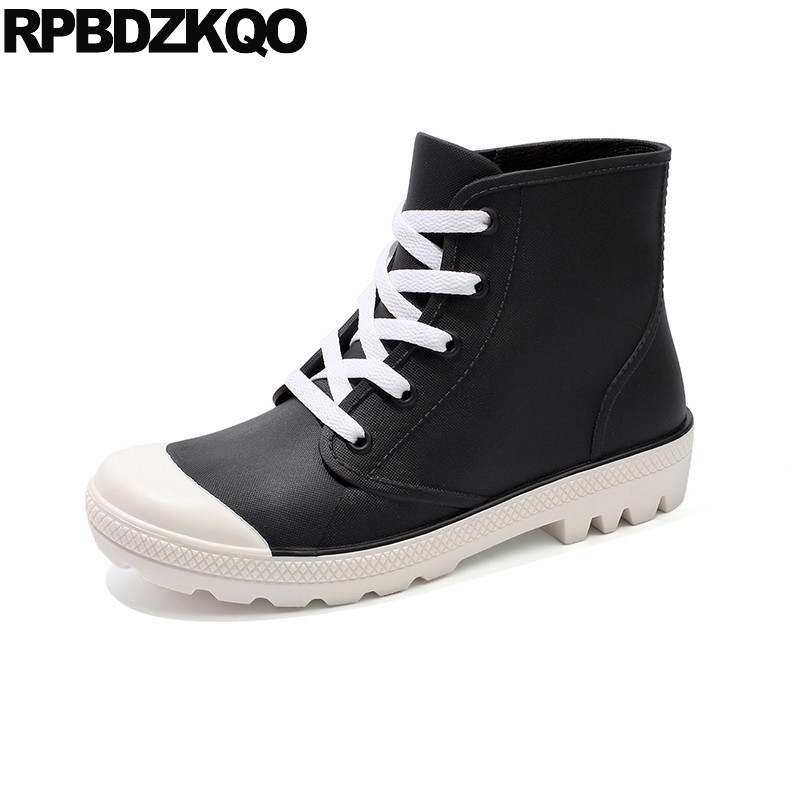 Rubber Ankle Platform Waterproof Black Booties Ladies Lace Up Shoes Women Boots 2016 Round Toe Rain Rainboots Flat New Chinese<br>