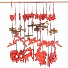 6pcs Wooden Christmas Ornament Decorations Christmas Tree String Pendant Creative Carving  New Year Home Adornment