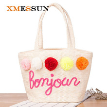 Summer Straw Handbags for Women Pom Ball Letter Design Beach Bag Boho Woven Shoulder Bags Basket Party Market Shopping Tote C33(China)