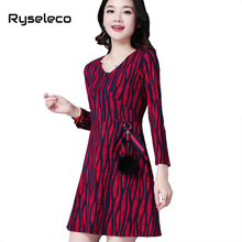 New Women Autumn Winter Dresses 2017 Vintage Geometric Strip Prints V-neck Casual Formal OL Basic Fur Ball Short Flare Vestidos(China)