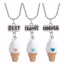 2017 icecream best buds gift friendship pendant necklace milk cookie 2 in set Fashion jewelry 7605