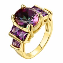 Moshengnian18K gold rose handmade purple zirconia girl engagement ring jewelry free delivery