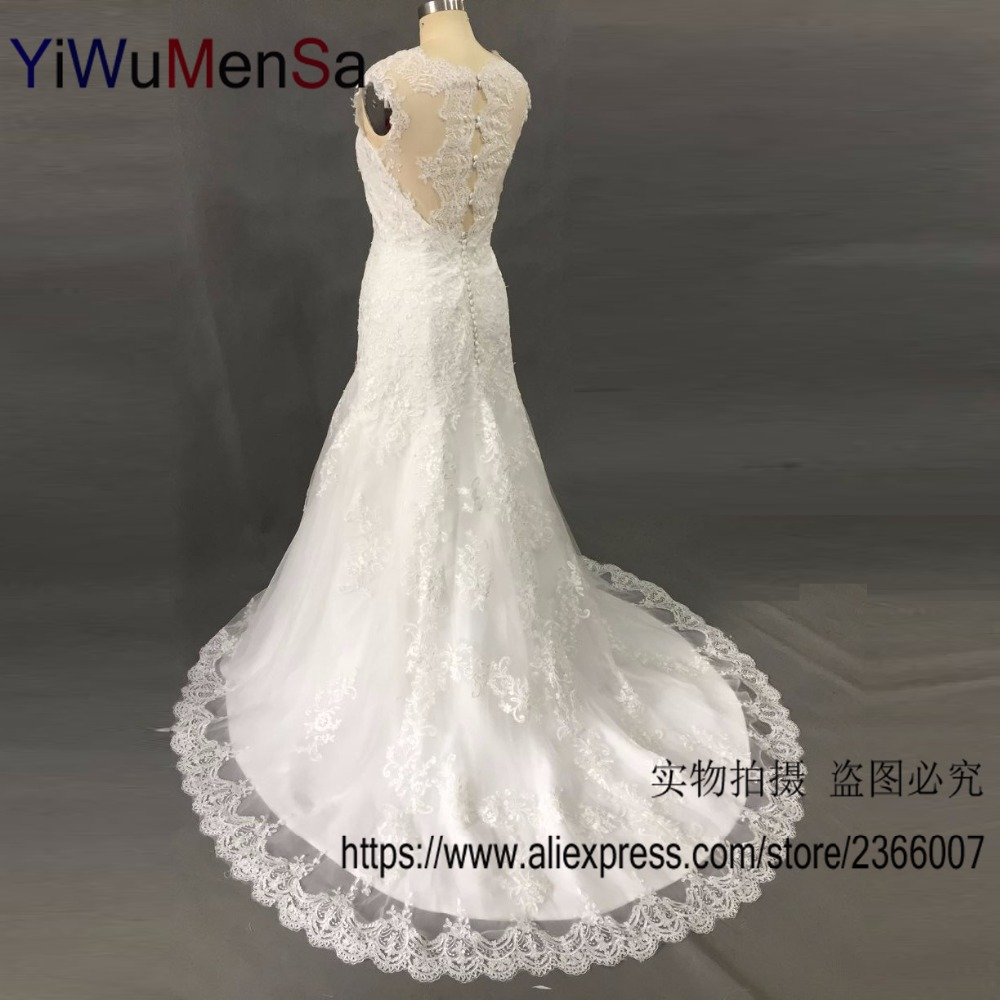 YiWuMenSa Brand Design robe de mariage 2017 Sexy Mermaid Wedding dress Lace Appliques Country Western Wedding dresses 2017 Gowns(China (Mainland))
