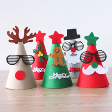 Cartoon Cute DIY Christmas Santa Claus Hat Caps Decorations New Year Handmade Favor Caps Christmas Gifts Party Supplies Kids