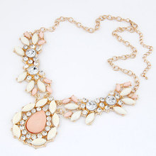 New Items Big Water Drop Imitation Gemstone Jewelry Crystal Statement Necklaces Pendants Choker Collar Necklace for Women Men