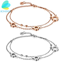 Boniskiss HOT SELL Love Round Anklet Foot Jewelry Rose Gold Stainless Steel Fashion Foot Chain Jewelry For Women Wholesale Price(China)