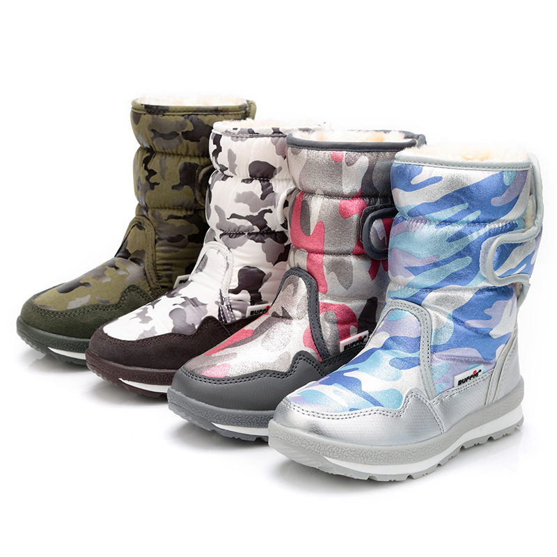 Kalupao Girls Snow Boots Fashion Camouflage Winter Boots With Fur Inside High Cup Warm Plush Boots <br>