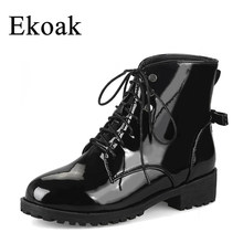 Ekoak Sexy Middle Heels Metal Rivets Motorcycle Boots Lace-Up Autumn  Leather Ankle Boots for Women Ladies Shoes Woman 711670450b4c