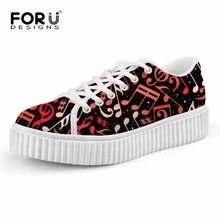 FORUDESIGNS moda música nota marca mujeres pisos zapatos Casual Low estilo  señoras altura aumentar Creepers Zapatos mujer 0520230263a